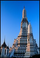 Prang (khmer style tower) of Wat Arun,sunrise. Bangkok, Thailand (color)