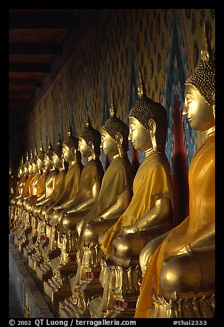 Row of Buddha statues in gallery, Wat Arun. Bangkok, Thailand (color)