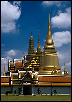 Wat Phra Kaew, adjacent to the Grand Palace, home of the most venerated emerald Buddha. Bangkok, Thailand