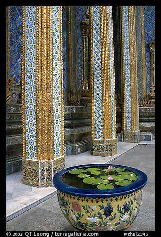 Lotus flowers and ornemented colunm, Wat Phra Kaew. Bangkok, Thailand (color)