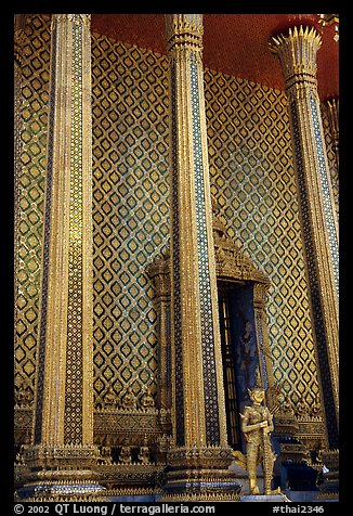 Gilded columns and walls, Wat Phra Kaew. Bangkok, Thailand (color)
