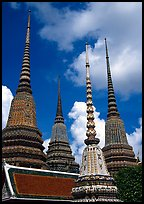 Ratanakosin style Chedis and roof, Wat Pho. Bangkok, Thailand ( color)