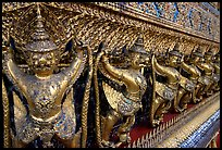 Classical thai figures in Wat Phra Kaew. Bangkok, Thailand (color)