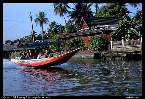 Fast boat along khlong on Thonbury canals. Bangkok, Thailand (color)