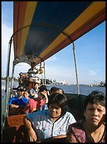 Aboard long tail taxi boat on Chao Phraya river. Bangkok, Thailand