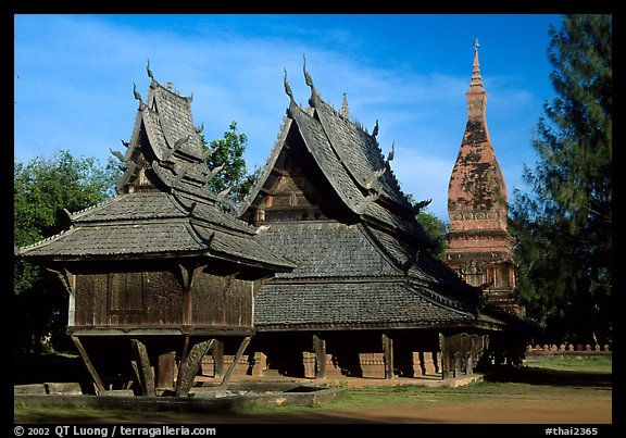 Thai rural temple architecture in northern style. Muang Boran, Thailand (color)