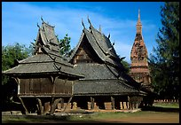 Thai rural temple architecture in northern style. Muang Boran, Thailand ( color)