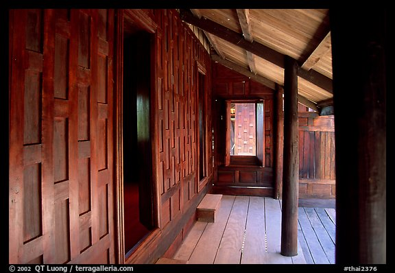 Patio of house made of Teak. Muang Boran, Thailand