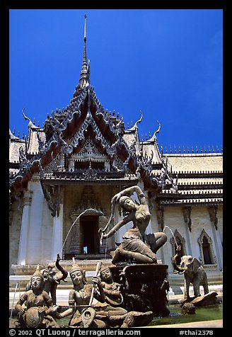 Temple in Ayuthaya style. Muang Boran, Thailand (color)
