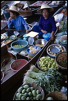 Women selling fruits and vegetables, Floating market. Damonoen Saduak, Thailand ( color)