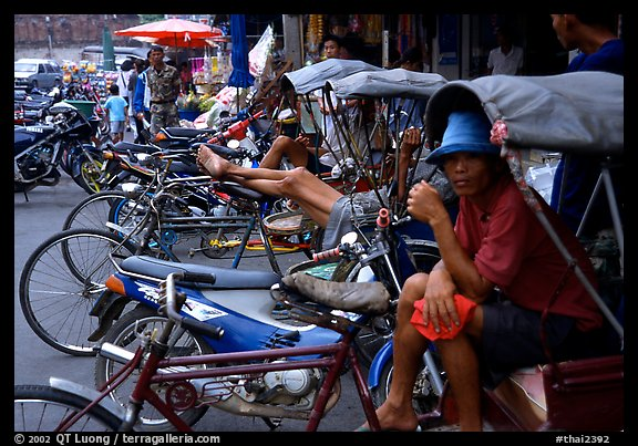 Tricycle drivers. Nakkhon Pathom, Thailand (color)
