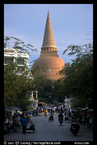 Phra Pathom Chedi  dominating the town skyline. Nakkhon Pathom, Thailand (color)