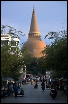 Phra Pathom Chedi  dominating the town skyline. Nakkhon Pathom, Thailand