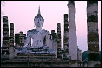Wat Mahathat, the most important complex of Sukhothai, dusk. Sukothai, Thailand ( color)
