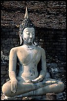 Classic sitting Buddha image, with boneless style typical of period. Sukothai, Thailand ( color)