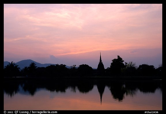 Elegant lines of Wat Si Chum at sunset. Sukothai, Thailand