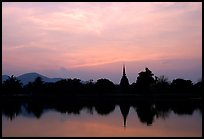 Elegant lines of Wat Si Chum at sunset. Sukothai, Thailand (color)