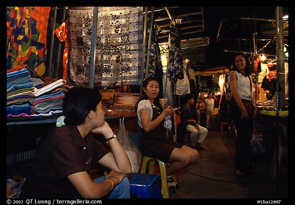 Vendors in the Night Bazaar. Chiang Mai, Thailand (color)