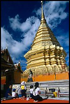 Worshipers at the Chedi of Wat Phra That Doi Suthep. Chiang Mai, Thailand ( color)