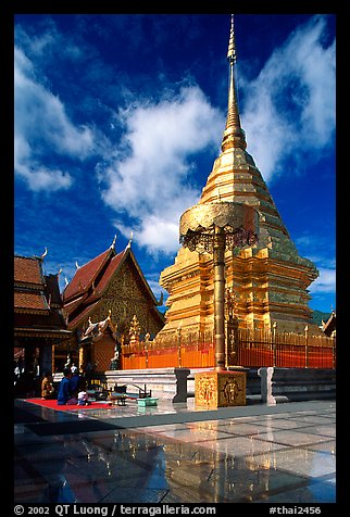 Gold umbrella and chedi of Wat Phra That Doi Suthep. Chiang Mai, Thailand (color)