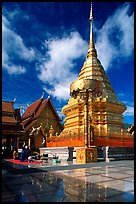 Gold umbrella and chedi of Wat Phra That Doi Suthep. Chiang Mai, Thailand ( color)