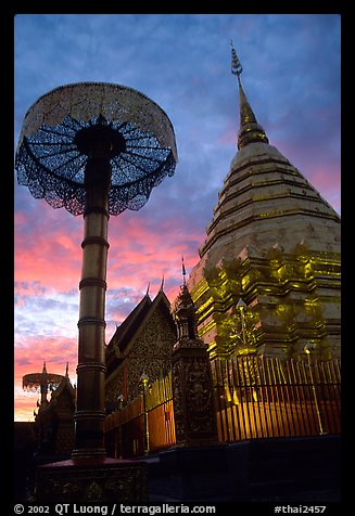 Wat Phra That Doi Suthep at sunset. Chiang Mai, Thailand (color)