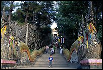 Naga (snake) staircase leading to Wat Phra That Doi Suthep. Chiang Mai, Thailand (color)