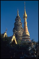 Wat Kuu Tao, with its unique chedi of Yunnanese design. Chiang Mai, Thailand (color)