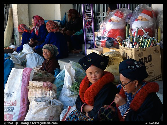 Tribeswomen at market. Chiang Rai, Thailand (color)