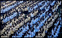 Rows of uniformed school girls lined up during prayer. Chiang Rai, Thailand ( color)