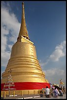 Chedi on top of Phu Kaho Thong. Bangkok, Thailand (color)