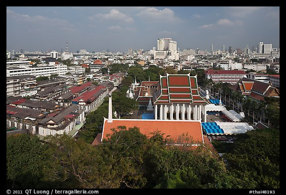 View of temples and city. Bangkok, Thailand (color)