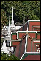 Temple and chedis from above. Bangkok, Thailand (color)