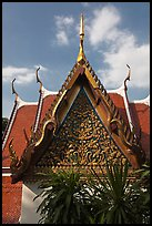 Gilded temple roof, Phu Kaho Thong. Bangkok, Thailand ( color)