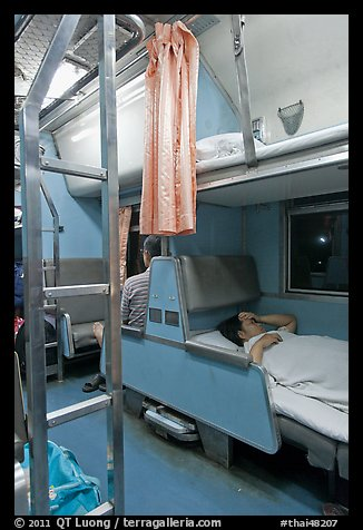 Passenger in sleeping train. Thailand (color)