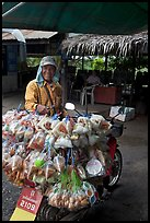 Food for sale on back of motorbike. Thailand (color)