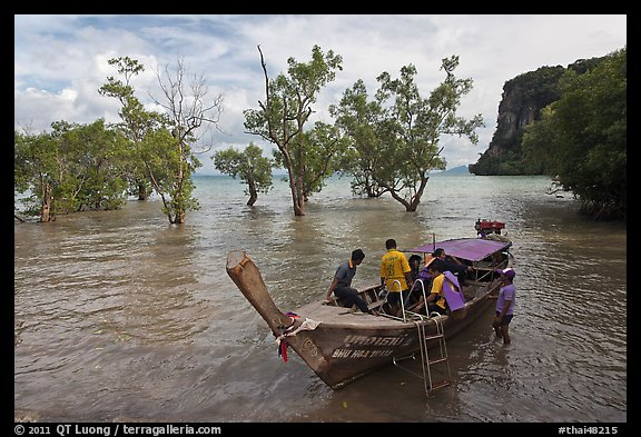 Boat boarding amongst mangroves, Ao Railay East. Krabi Province, Thailand (color)