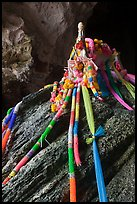 Ribons, Pranang cave shrine, Railay. Krabi Province, Thailand (color)
