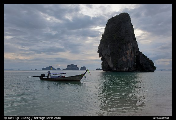 Boat and Happy Island, Railay. Krabi Province, Thailand (color)