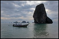 Boat and Happy Island, Railay. Krabi Province, Thailand ( color)