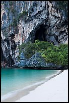 Beach, cliff and cave, Rail Leh. Krabi Province, Thailand (color)