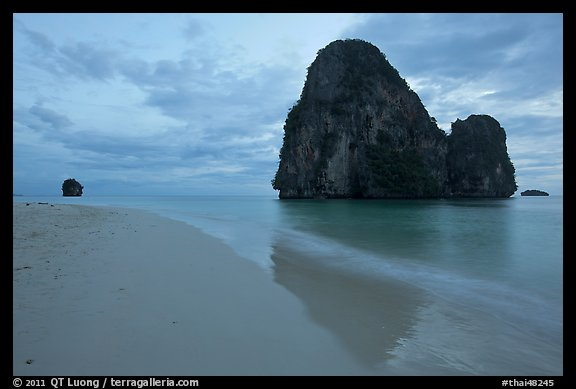 Happy Island reflected on beach, Railay. Krabi Province, Thailand (color)