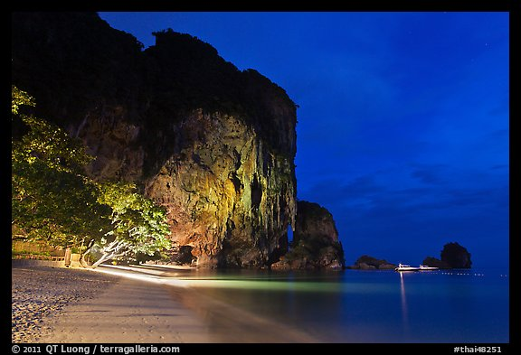 Phra Nang beach at night. Krabi Province, Thailand (color)