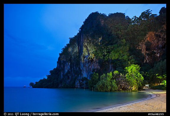 Cliffs and trees at night, Rai Leh East. Krabi Province, Thailand (color)