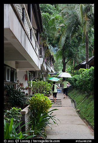 Resort on rainy day, Rai Leh East. Krabi Province, Thailand