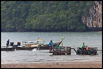 Tractor and longtail boat,  Railay East. Krabi Province, Thailand