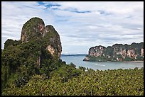 Thaiwand wall and bay, Rai Leh. Krabi Province, Thailand (color)
