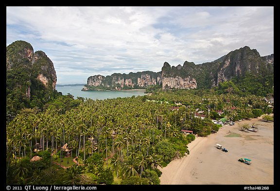Railay peninsual seen from Laem Phra Nang. Krabi Province, Thailand