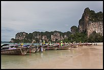 Boats and cliffs,  Hat Rai Leh West. Krabi Province, Thailand
