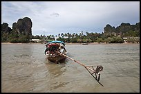 Tail of boat, and Railay East. Krabi Province, Thailand